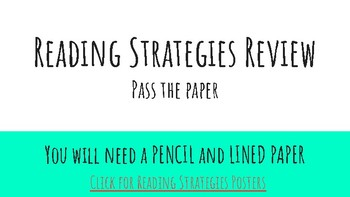 Reading Strategies Review: Pass the Paper
