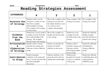 Reading Strategies Rubric