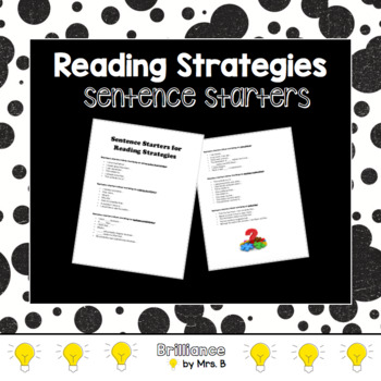 Reading Strategies: Sentence Starters to Guide Comprehension