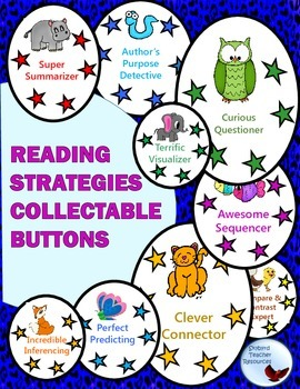 Reading Strategies Collectable Buttons Stickers