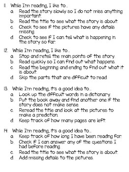 Reading Strategies Survey Assessment