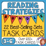 Reading Skills Task Cards Bundle: 648 short passage cards with questions
