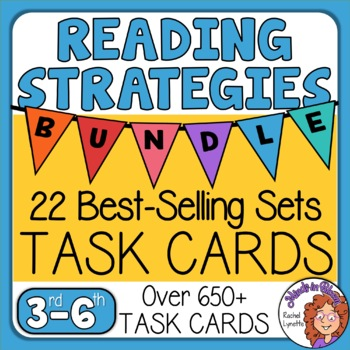 Reading Comprehension Task Card Bundle: 648 passages w/ reading skills questions