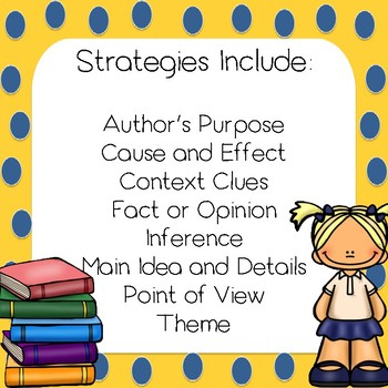 Reading Strategies, Reading Skills Literacy Centers Task Cards-Optional QR Codes