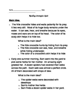 Reading Strategies Tests