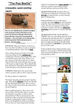 Reading Strategies - The Dung Beetle in Australia