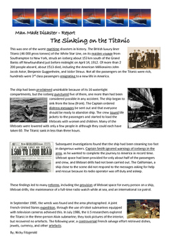 Reading Strategies - The Sinking of the Titanic Disaster -