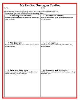 Reading Strategies Toolbox – Revision Worksheet