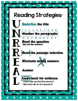 Reading Strategies UNRREAL - Teal Dots