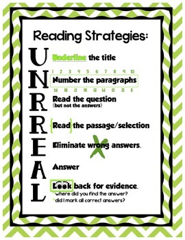 Reading Strategies UNRREAL - Lime Chevron