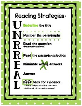 Reading Strategies UNRREAL - Lime Dots