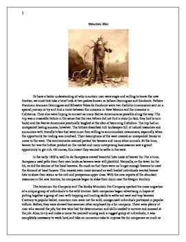 Reading Strategies Using Informational Texts: Mountain Men