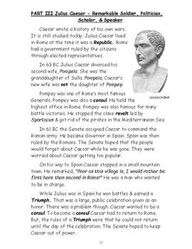 Reading Strategies Using Julius Caesar's Life Informational Text