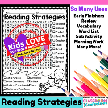 Reading Strategies Word Search Activity