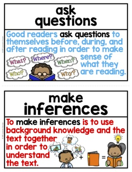 Reading Strategies Word Wall ~ 28 Reading Strategy Posters or Flashcards