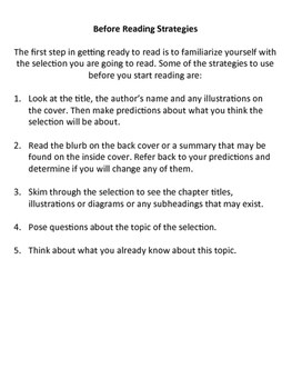 Reading Strategies and Activities for Grades 5 to 8