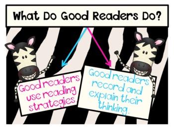 Reading Strategies and Graphic Organizers - Zebra Theme