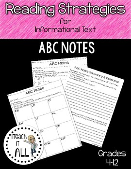 Reading Strategies for Informational Text ABC Notes