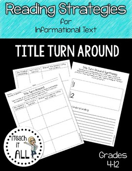 Reading Strategies for Informational Text Title Turn Around