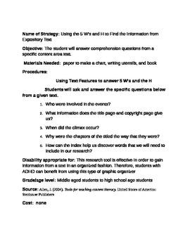 Reading Strategies for Teachers