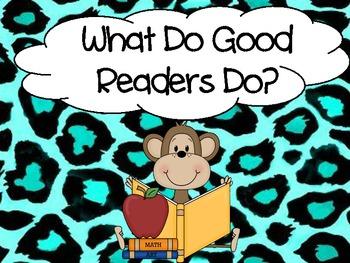 Reading Strategies for beginner readers with animal print border
