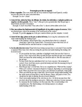 Reading Strategies in Spanish - Estrategias de lectura en español