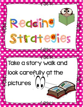 Reading Strategy  Anchor Chart Cards