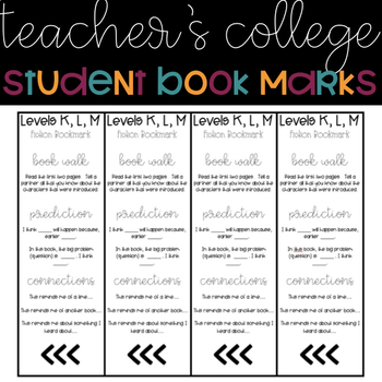 Teacher's College Inspired Bookmarks