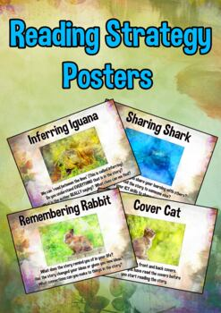 Reading Strategy Animal Card Posters : inferring, predicti