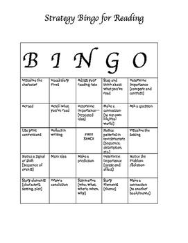 Reading Strategy Bingo (PDF)