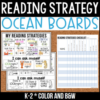 Reading Strategy Boards {Primary} Under the Sea Ocean Theme