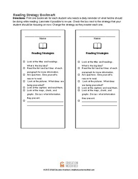 Reading Strategy Bookmark- Customizable!