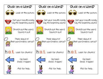 Reading Strategy Bookmark for Beginning Readers