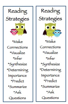 Reading Strategy Bookmarks Cute OWL Theme!