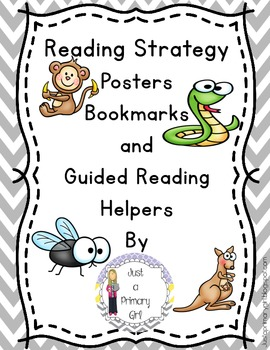 Reading Strategy Bookmarks, Posters and Guide in Chevron