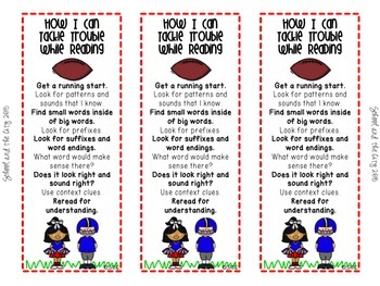 "Reading Strategy Bookmarks - ""Tackling Trouble"" Football Theme"