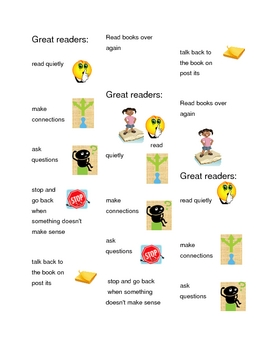 Reading Strategy Bookmarks with Clip Art