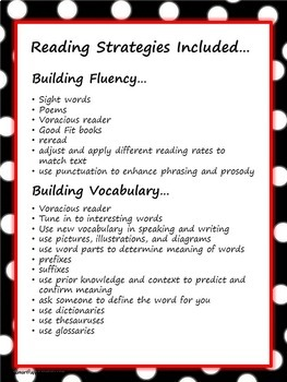 Reading Strategy Cards - 1&2  Grade RED Polka Dot Theme