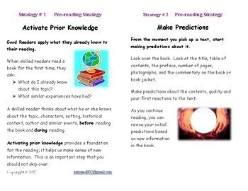 Reading Strategy Cards for decoding and comprehension