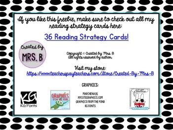 Reading Strategy Cards FREEBIE!