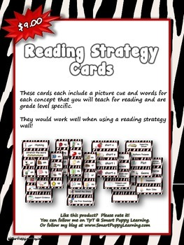 Reading Strategy Cards - Kindergarten  Zebra Theme