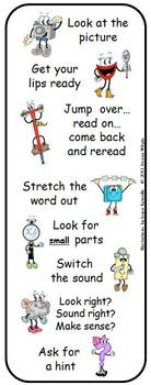 Reading Strategy Character Bookmarks in Color