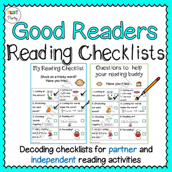 Reading Strategy Decoding Checklists for Students | Reading Center Tasks