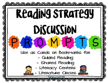 Reading Strategy Discussion Prompt Cards/Bookmarks {FREE}