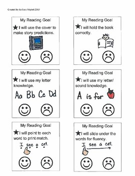 Reading Strategy Goal and Comprehension Cards Emergent Readers