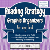 Reading Strategy Graphic Organizer: Choice Menu