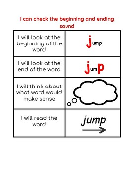 Reading Strategy:  I can check the beginning and ending sound