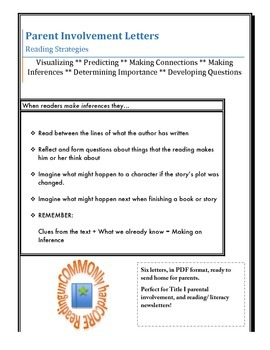 Reading Strategy Letters for Parent Involvement