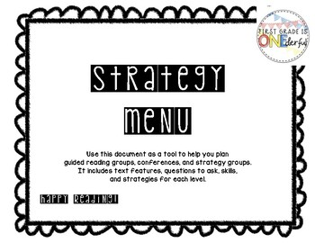 Reading Strategy Menu / Leveled Guide