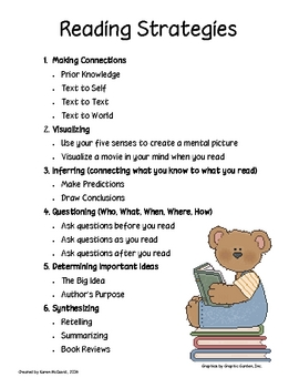 Reading Strategy Poster for Reader's Notebook